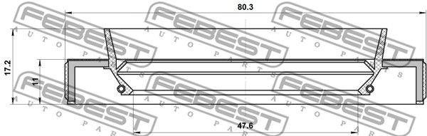 FEBEST 95HBY-49801117L Võlli rõngastihend,veovõll